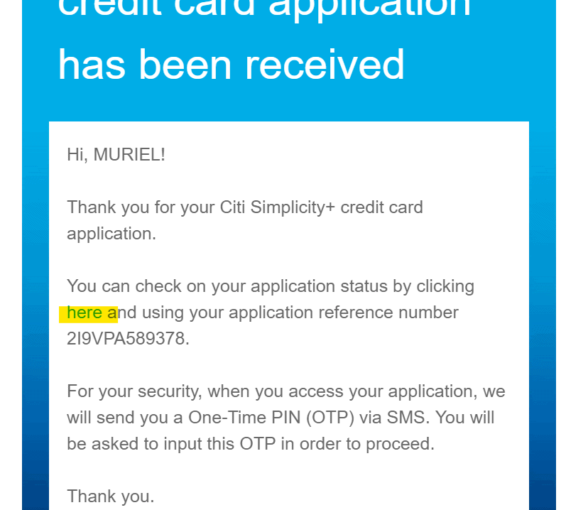 My Citibank Simplicity+ Credit Card Application Review