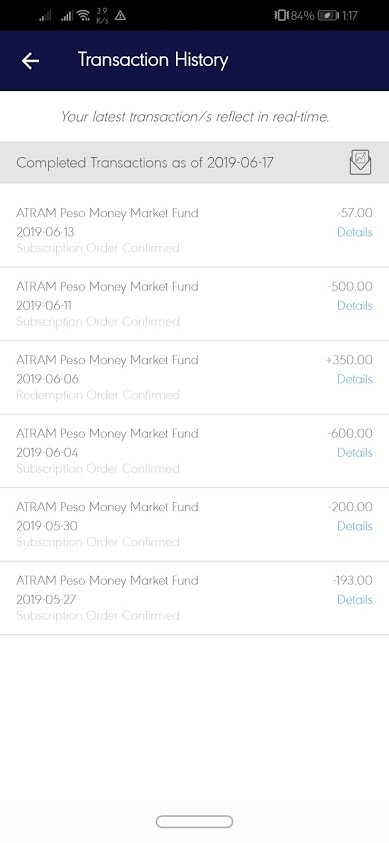 Transactions from May 27, 2019 - June 17, 2019