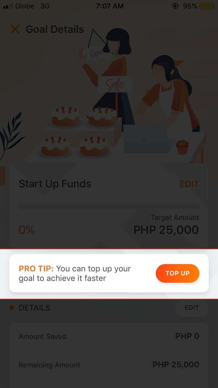 Top up your goal to achieve it faster.
